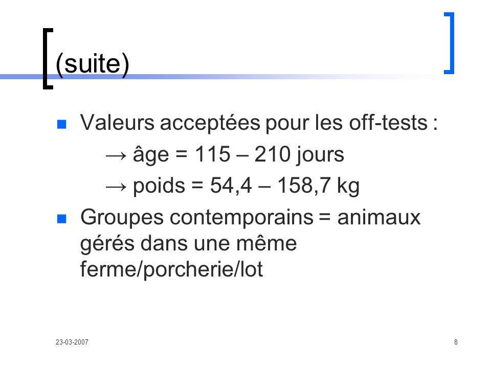 23-03-20078 (suite) Valeurs acceptées pour les off-tests : âge = 115 – 210 jours poids = 54,4 – 158,7 kg Groupes contemporains = animaux gérés dans une même ferme/porcherie/lot