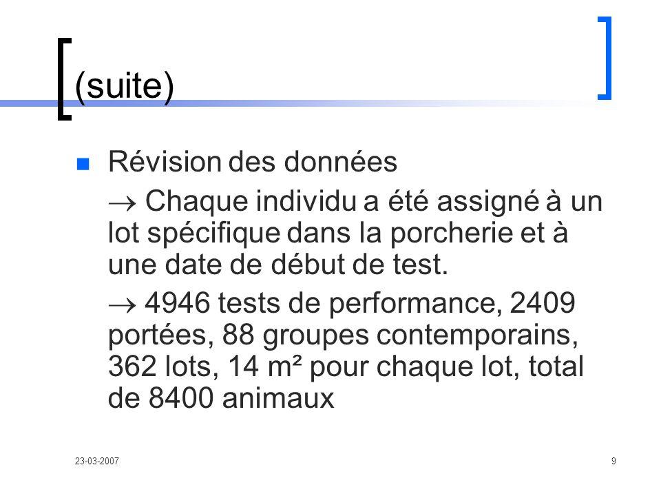 23-03-20079 (suite) Révision des données Chaque individu a été assigné à un lot spécifique dans la porcherie et à une date de début de test.