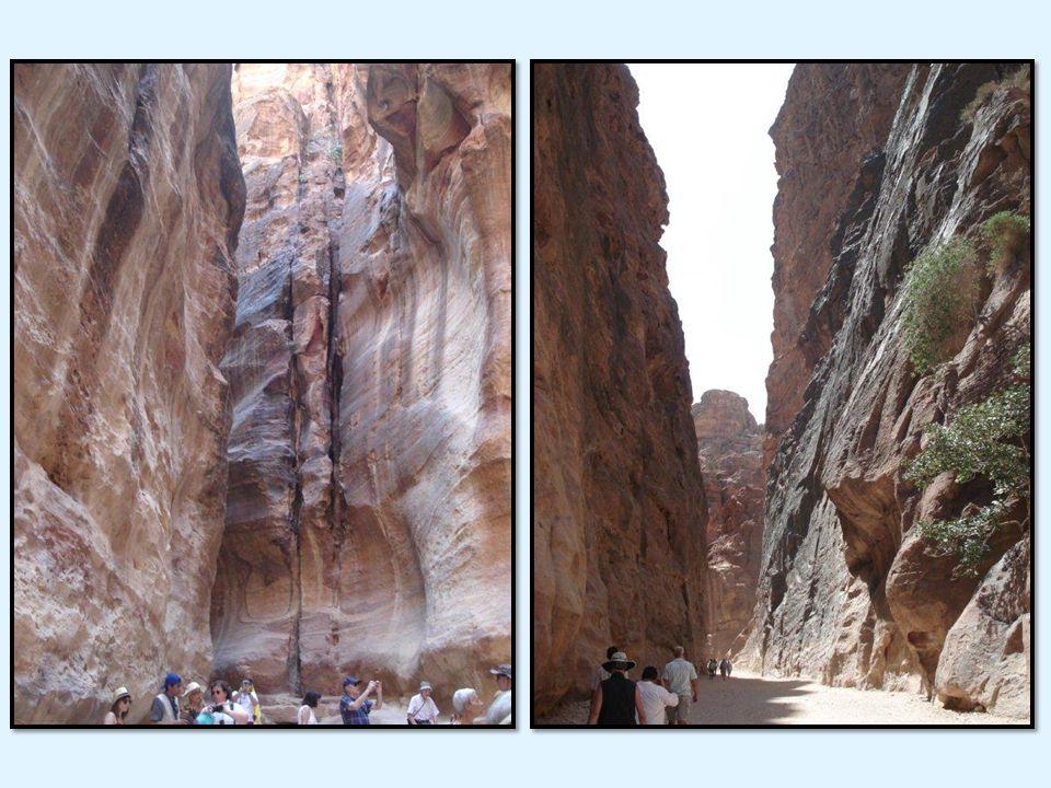 Le Siq: une spectaculaire gorge de 1200 mètres de long, sa largeur varie de 3 à 17 mètres. A lendroit le plus haut,la montagne peut atteindre 100m; Cr