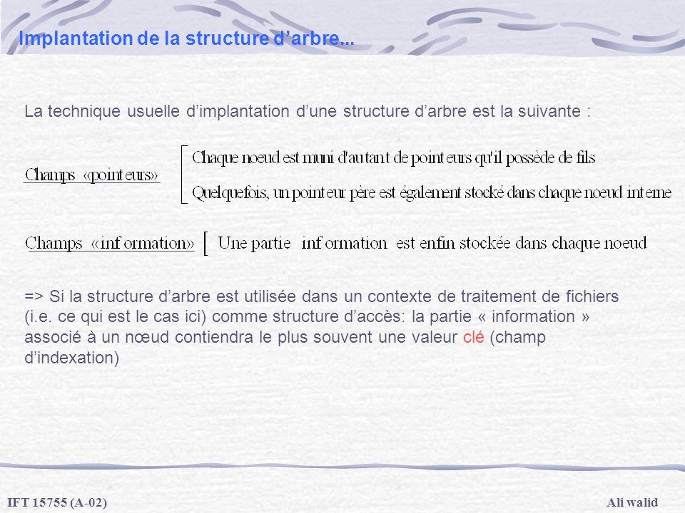 Ali walidIFT 15755 (A-02) Implantation de la structure darbre... La technique usuelle dimplantation dune structure darbre est la suivante : => Si la s