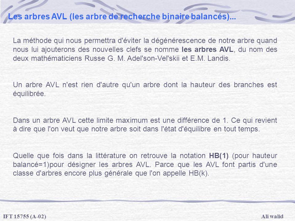 Ali walidIFT 15755 (A-02) Les arbres AVL (les arbre de recherche binaire balancés)... La méthode qui nous permettra d'éviter la dégénérescence de notr