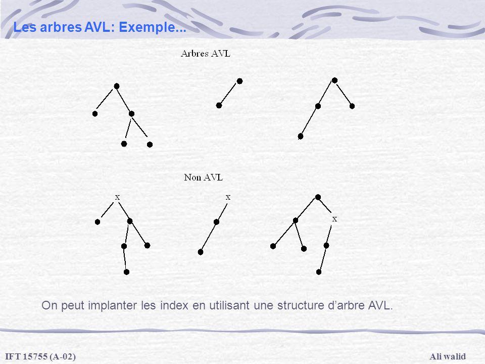 Ali walidIFT 15755 (A-02) Les arbres AVL: Exemple... On peut implanter les index en utilisant une structure darbre AVL.