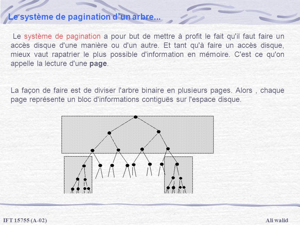 Ali walidIFT 15755 (A-02) Le système de pagination dun arbre... Le système de pagination a pour but de mettre à profit le fait qu'il faut faire un acc
