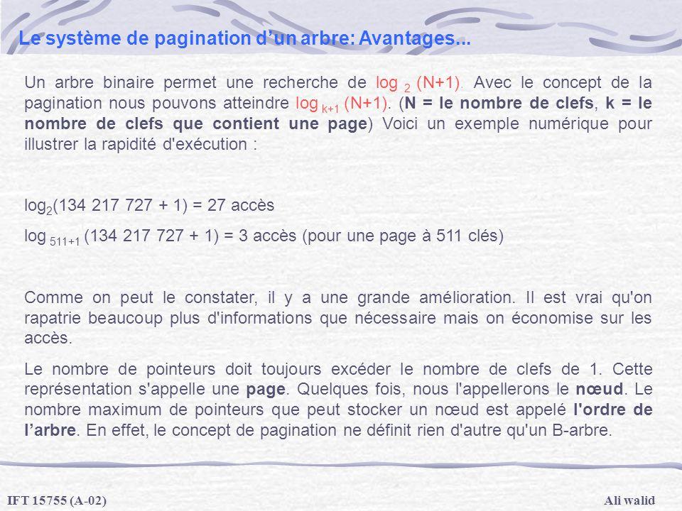 Ali walidIFT 15755 (A-02) Le système de pagination dun arbre: Avantages... Un arbre binaire permet une recherche de log 2 (N+1). Avec le concept de la