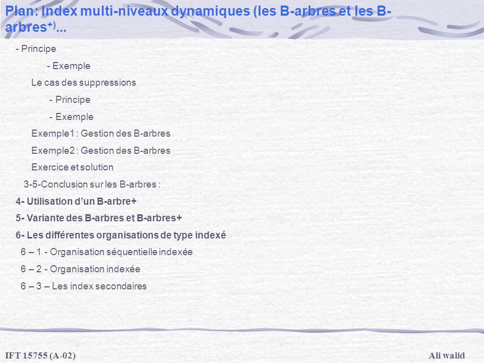 Ali walidIFT 15755 (A-02) Plan: Index multi-niveaux dynamiques (les B-arbres et les B- arbres +)... - Principe - Exemple Le cas des suppressions - Pri