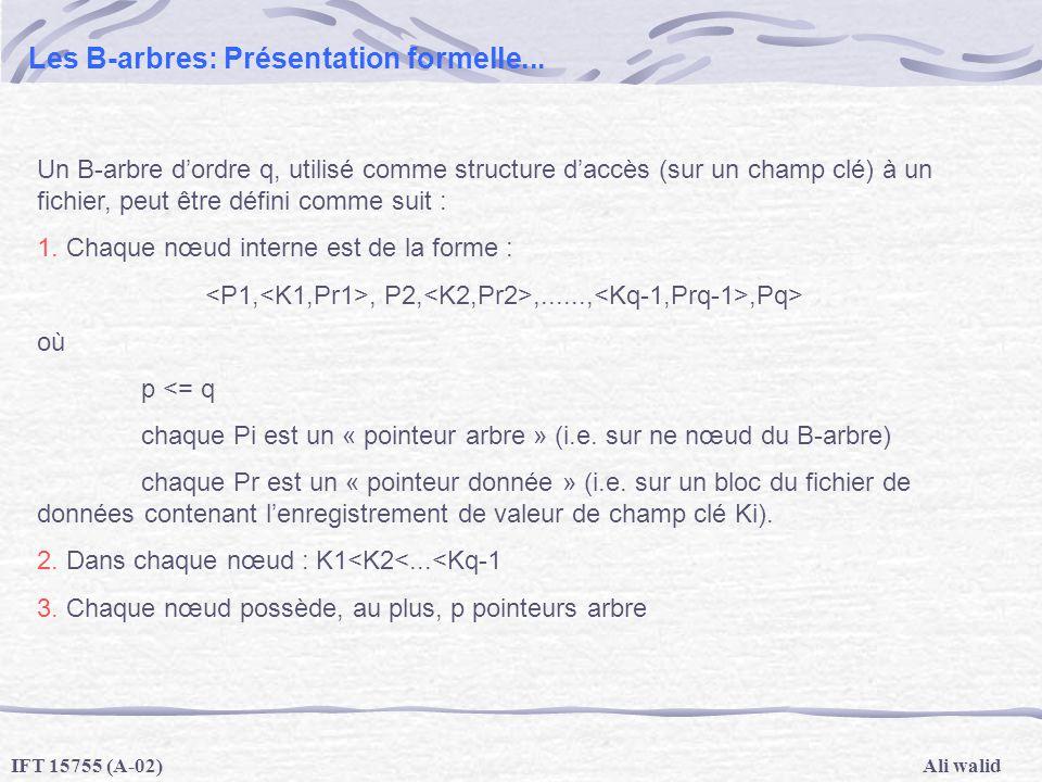 Ali walidIFT 15755 (A-02) Les B-arbres: Présentation formelle... Un B-arbre dordre q, utilisé comme structure daccès (sur un champ clé) à un fichier,