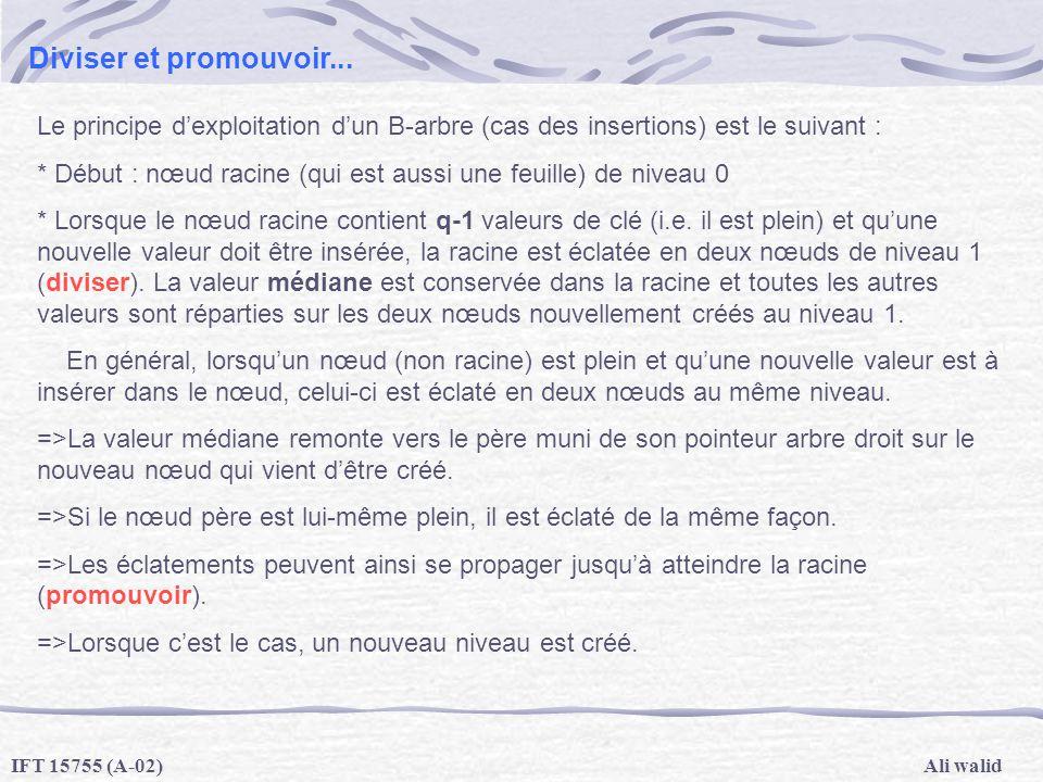 Ali walidIFT 15755 (A-02) Diviser et promouvoir... Le principe dexploitation dun B-arbre (cas des insertions) est le suivant : * Début : nœud racine (