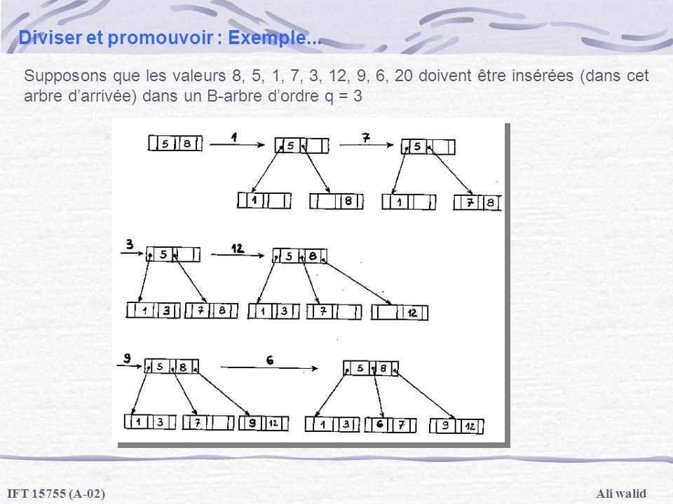 Ali walidIFT 15755 (A-02) Diviser et promouvoir : Exemple... Supposons que les valeurs 8, 5, 1, 7, 3, 12, 9, 6, 20 doivent être insérées (dans cet arb
