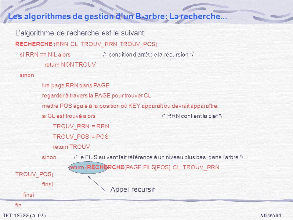 Ali walidIFT 15755 (A-02) Les algorithmes de gestion dun B-arbre: La recherche... Lalgorithme de recherche est le suivant: RECHERCHE (RRN, CL, TROUV_R