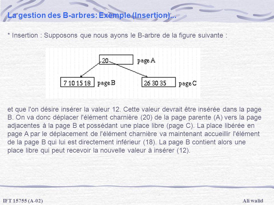 Ali walidIFT 15755 (A-02) La gestion des B-arbres: Exemple (Insertion)... * Insertion : Supposons que nous ayons le B-arbre de la figure suivante : et