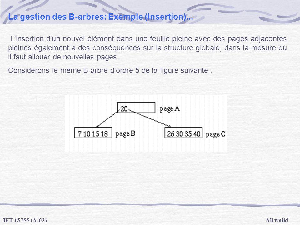 Ali walidIFT 15755 (A-02) La gestion des B-arbres: Exemple (Insertion)... L'insertion d'un nouvel élément dans une feuille pleine avec des pages adjac
