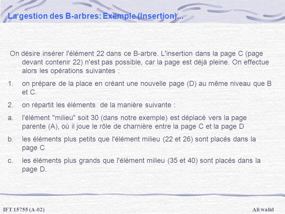 Ali walidIFT 15755 (A-02) La gestion des B-arbres: Exemple (Insertion)... On désire insérer l'élément 22 dans ce B-arbre. L'insertion dans la page C (