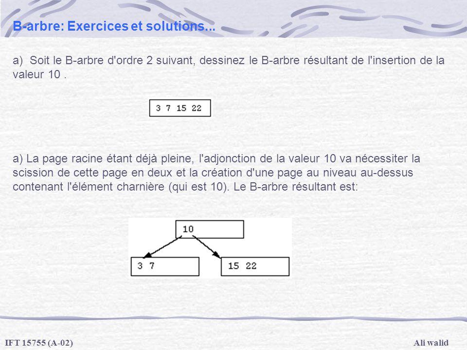 Ali walidIFT 15755 (A-02) B-arbre: Exercices et solutions... a) Soit le B-arbre d'ordre 2 suivant, dessinez le B-arbre résultant de l'insertion de la