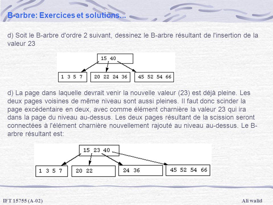 Ali walidIFT 15755 (A-02) B-arbre: Exercices et solutions... d) Soit le B-arbre d'ordre 2 suivant, dessinez le B-arbre résultant de l'insertion de la