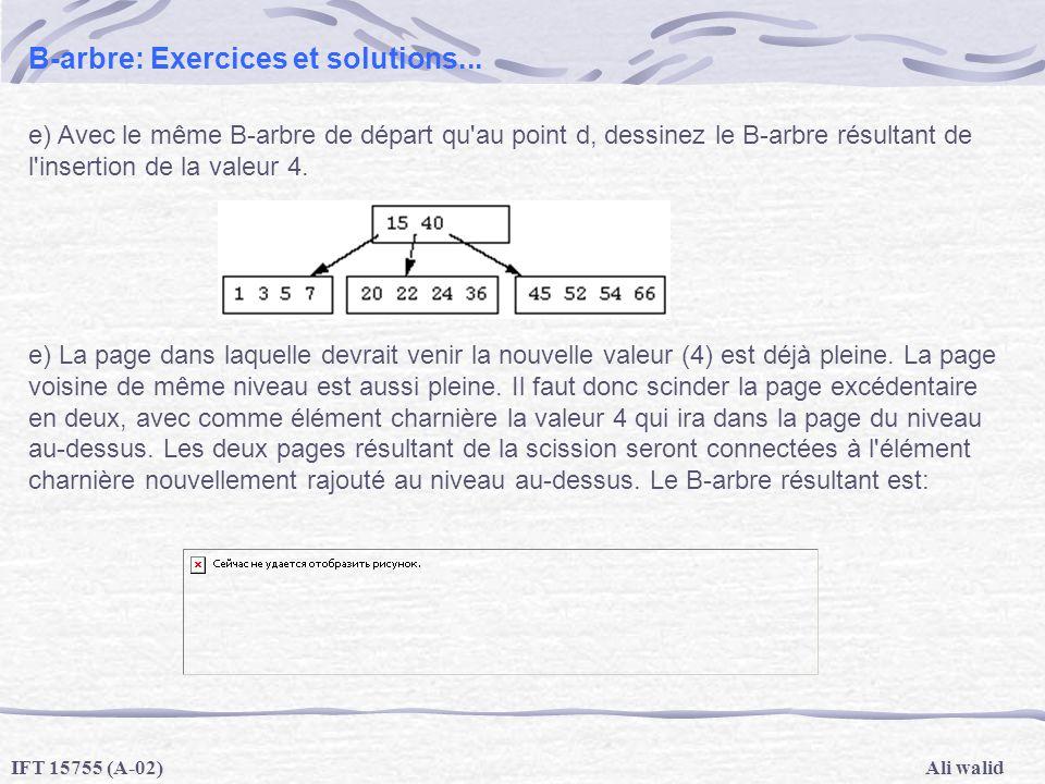 Ali walidIFT 15755 (A-02) B-arbre: Exercices et solutions... e) Avec le même B-arbre de départ qu'au point d, dessinez le B-arbre résultant de l'inser