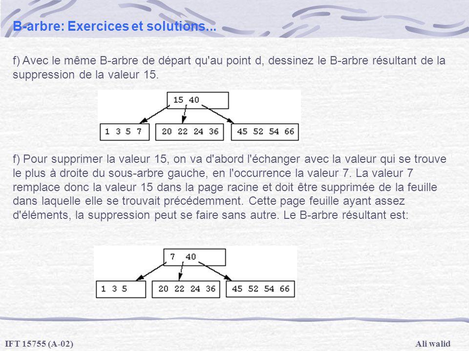 Ali walidIFT 15755 (A-02) B-arbre: Exercices et solutions... f) Avec le même B-arbre de départ qu'au point d, dessinez le B-arbre résultant de la supp