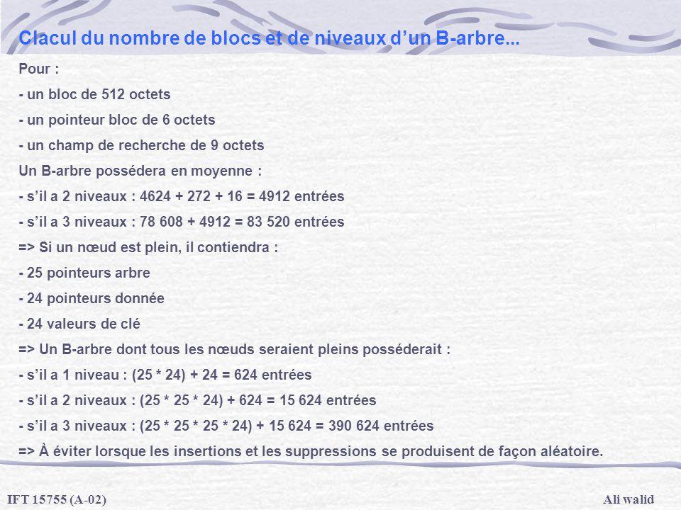 Ali walidIFT 15755 (A-02) Clacul du nombre de blocs et de niveaux dun B-arbre... Pour : - un bloc de 512 octets - un pointeur bloc de 6 octets - un ch