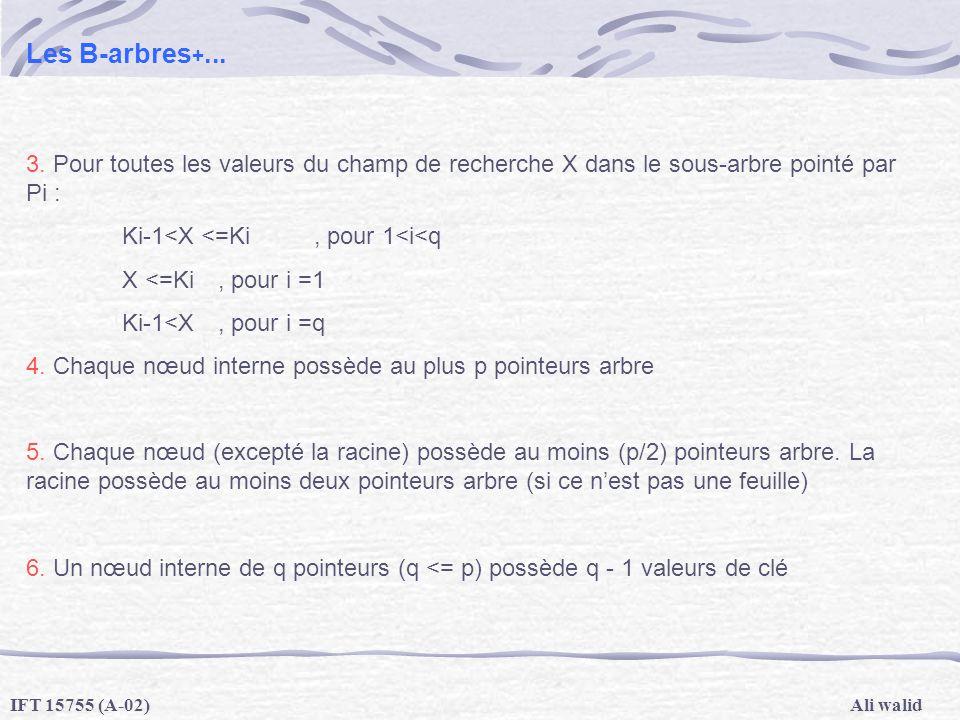 Ali walidIFT 15755 (A-02) Les B-arbres +... 3. Pour toutes les valeurs du champ de recherche X dans le sous-arbre pointé par Pi : Ki-1<X <=Ki, pour 1<