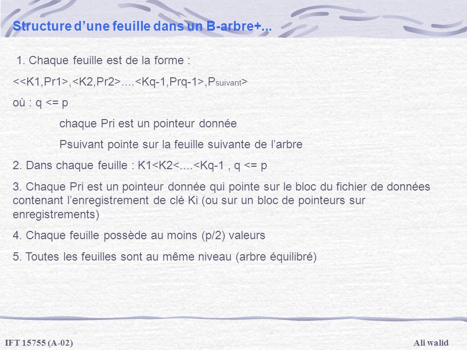 Ali walidIFT 15755 (A-02) Structure dune feuille dans un B-arbre+... 1. Chaque feuille est de la forme :,....,P suivant > où : q <= p chaque Pri est u
