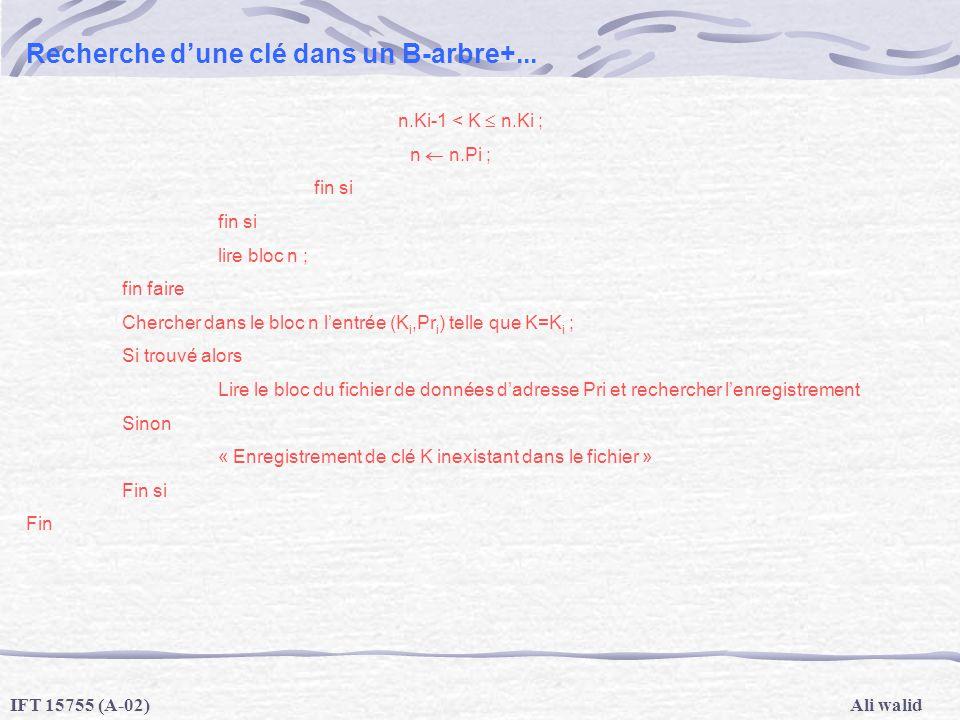 Ali walidIFT 15755 (A-02) Recherche dune clé dans un B-arbre+... n.Ki-1 < K n.Ki ; n n.Pi ; fin si lire bloc n ; fin faire Chercher dans le bloc n len