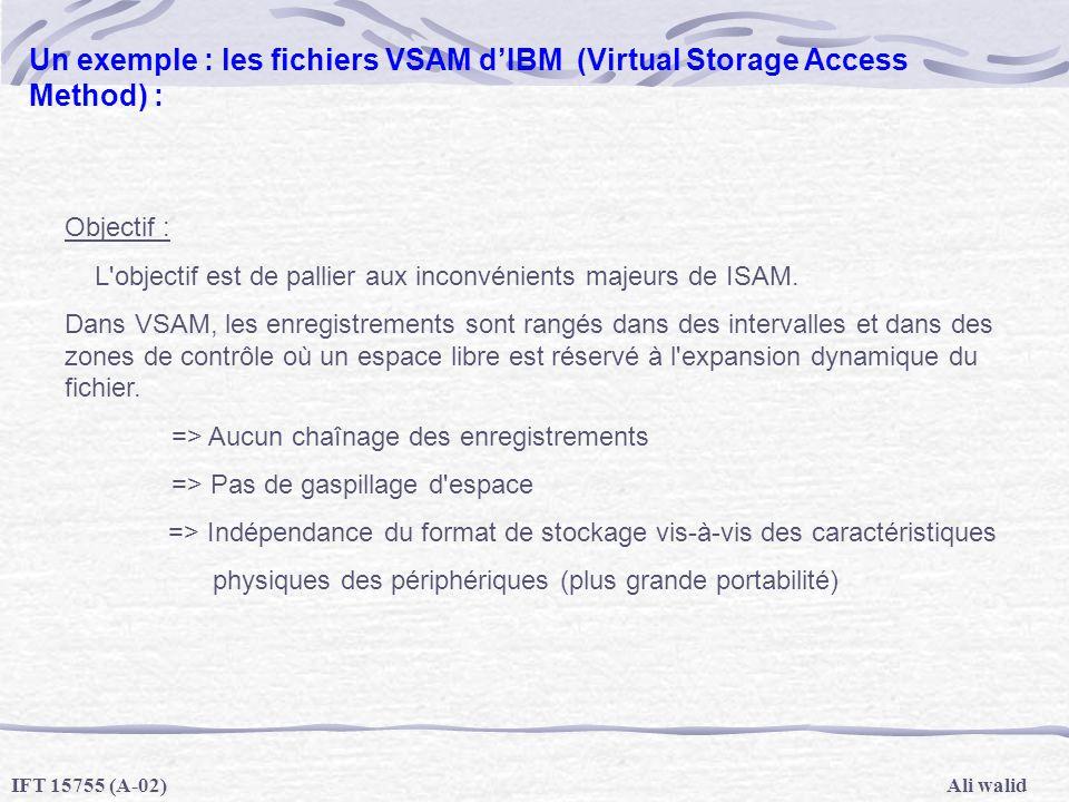 Ali walidIFT 15755 (A-02) Un exemple : les fichiers VSAM dIBM (Virtual Storage Access Method) : Objectif : L'objectif est de pallier aux inconvénients