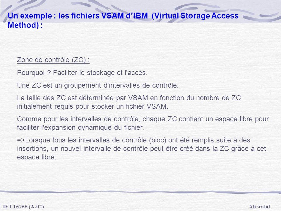 Ali walidIFT 15755 (A-02) Un exemple : les fichiers VSAM dIBM (Virtual Storage Access Method) : Zone de contrôle (ZC) : Pourquoi ? Faciliter le stocka