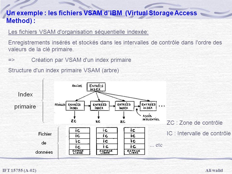 Ali walidIFT 15755 (A-02) Un exemple : les fichiers VSAM dIBM (Virtual Storage Access Method) : Les fichiers VSAM d'organisation séquentielle indexée: