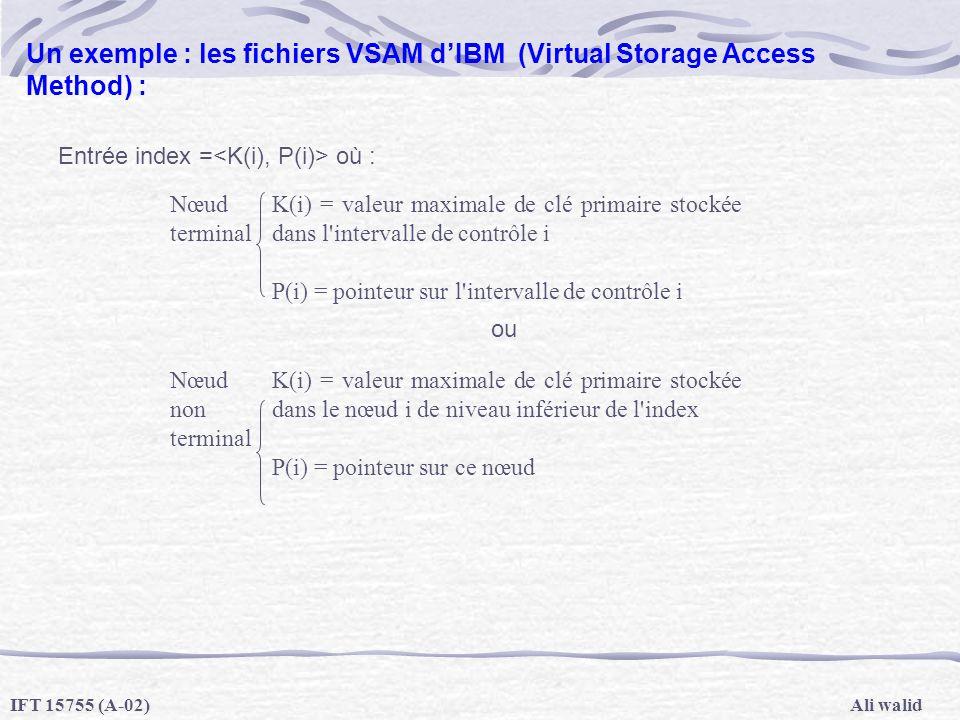 Ali walidIFT 15755 (A-02) Un exemple : les fichiers VSAM dIBM (Virtual Storage Access Method) : Entrée index = où : ou Nœud terminal K(i) = valeur max