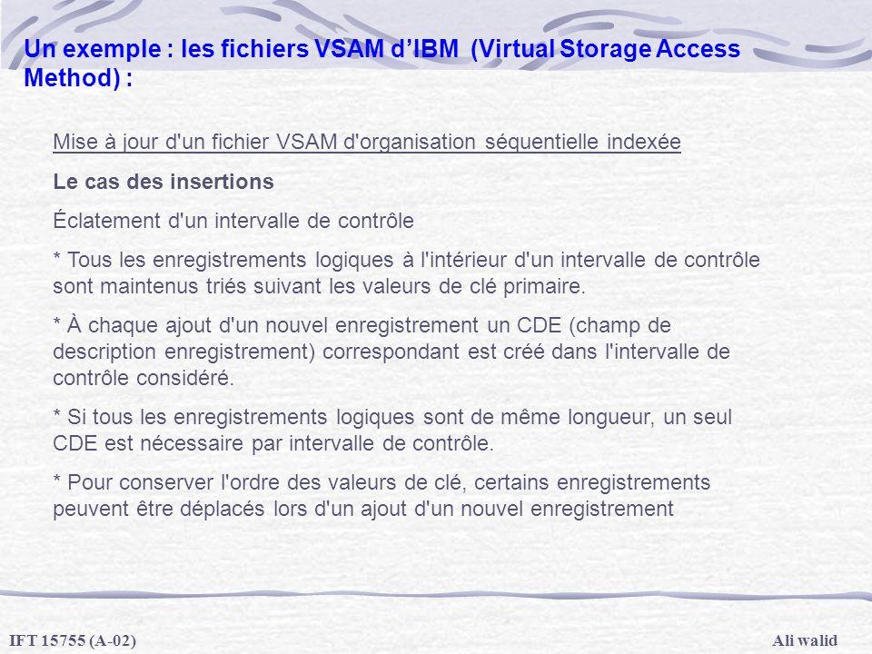 Ali walidIFT 15755 (A-02) Un exemple : les fichiers VSAM dIBM (Virtual Storage Access Method) : Mise à jour d'un fichier VSAM d'organisation séquentie