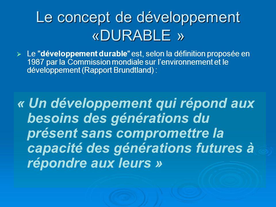 Le concept de développement «DURABLE » Le développement durable cest donc améliorer les conditions dexistences des communautés humaines tout en restant dans les limites de la capacité des écosystèmes à fournir des ressources et à supporter les effets négatifs des pollutions.