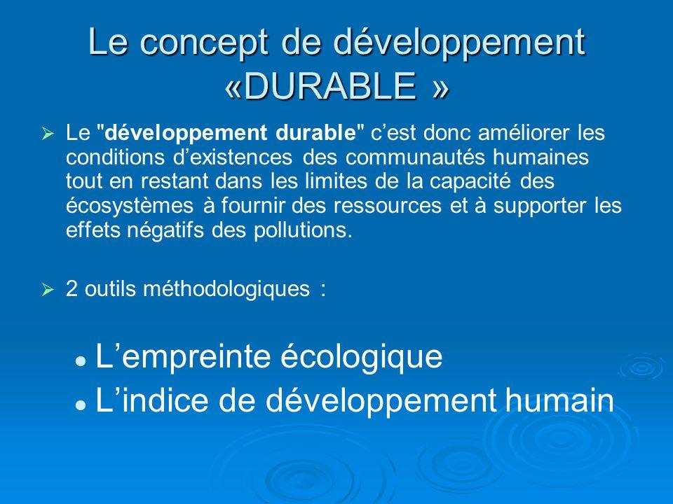 Le concept de développement «DURABLE » Le