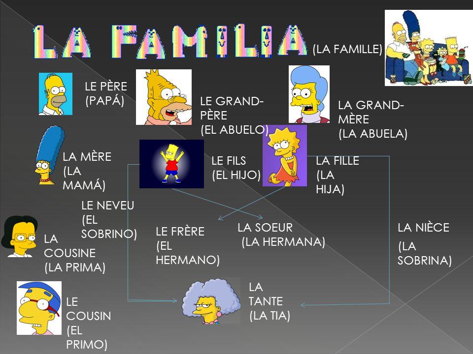 (LA FAMILLE) LE PÈRE (PAPÁ) LE FILS (EL HIJO) LA FILLE (LA HIJA) LA MÈRE (LA MAMÁ) LE GRAND- PÈRE (EL ABUELO) LA GRAND- MÈRE (LA ABUELA) LA TANTE (LA