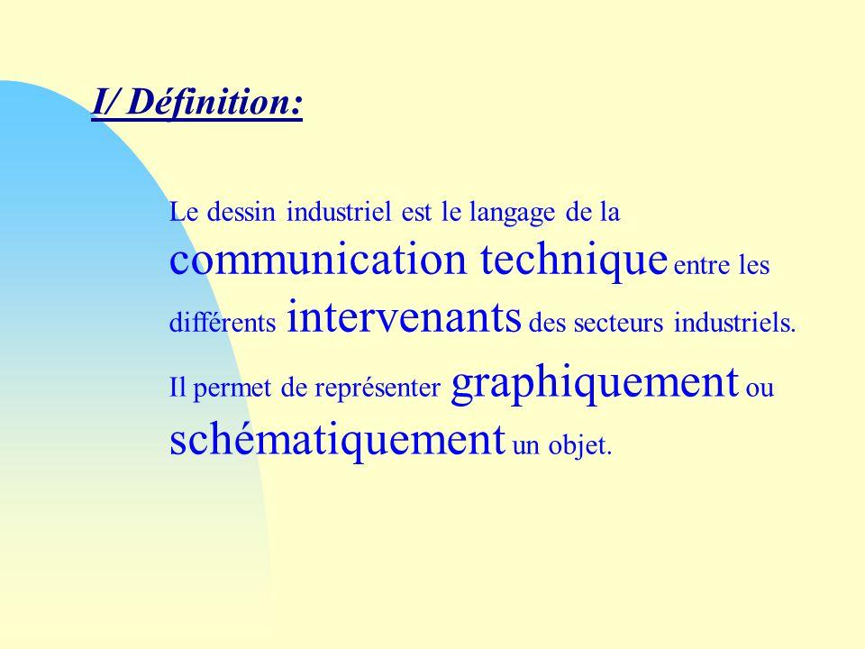 I/ Définition: Le dessin industriel est le langage de la communication technique entre les différents intervenants des secteurs industriels.