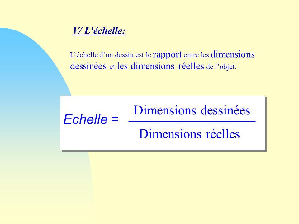 Léchelle dun dessin est le rapport entre les dimensions dessinées et les dimensions réelles de lobjet.