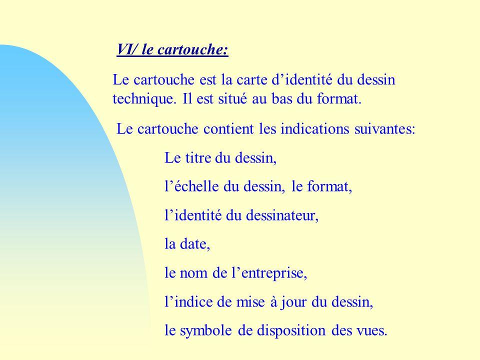 VI/ le cartouche: Le cartouche est la carte didentité du dessin technique.