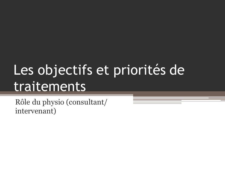 Les objectifs et priorités de traitements Rôle du physio (consultant/ intervenant)
