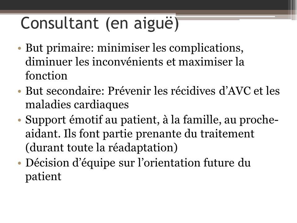 Consultant (en aiguë) But primaire: minimiser les complications, diminuer les inconvénients et maximiser la fonction But secondaire: Prévenir les réci