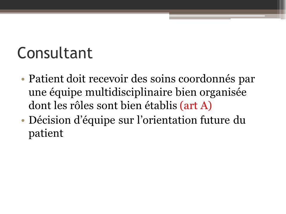 Consultant Patient doit recevoir des soins coordonnés par une équipe multidisciplinaire bien organisée dont les rôles sont bien établis (art A) Décision déquipe sur lorientation future du patient