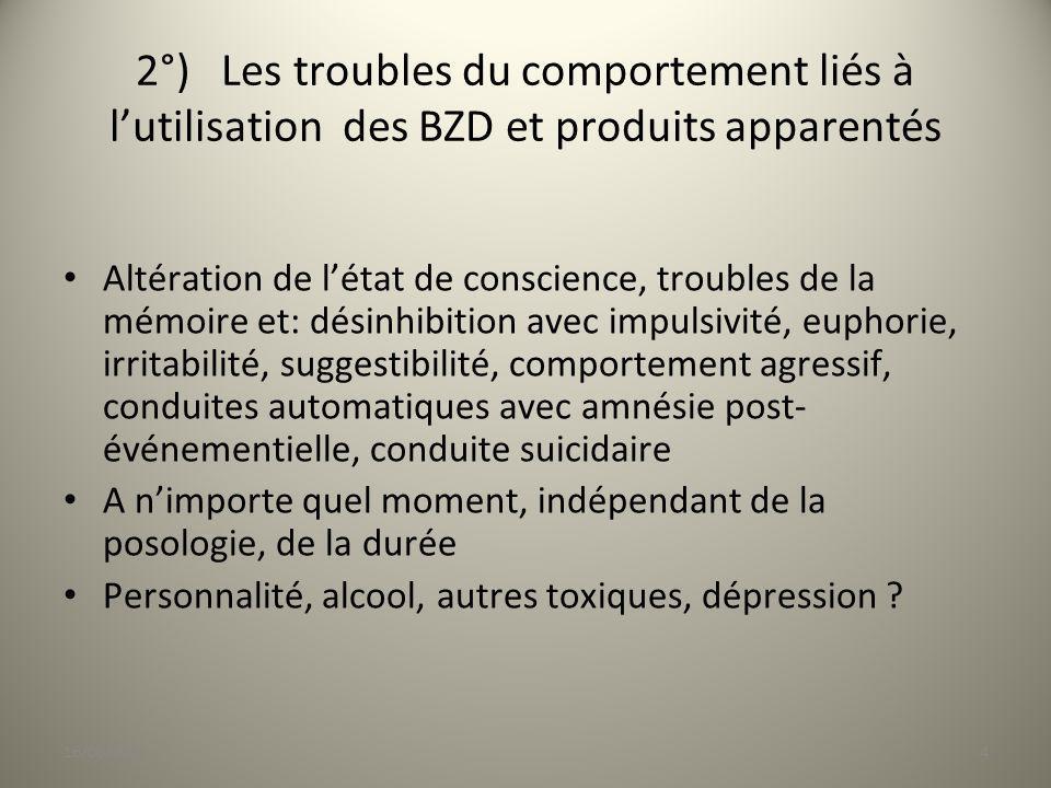 2°) Les troubles du comportement liés à lutilisation des BZD et produits apparentés Altération de létat de conscience, troubles de la mémoire et: dési