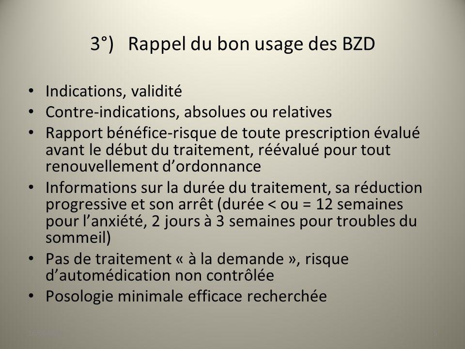 3°) Rappel du bon usage des BZD Indications, validité Contre-indications, absolues ou relatives Rapport bénéfice-risque de toute prescription évalué a