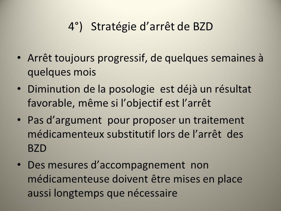 4°) Stratégie darrêt de BZD Arrêt toujours progressif, de quelques semaines à quelques mois Diminution de la posologie est déjà un résultat favorable,