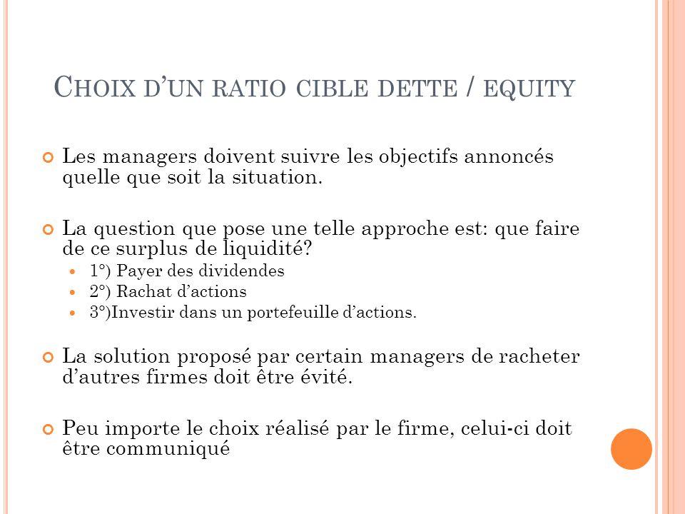 C HOIX D UN RATIO CIBLE DETTE / EQUITY Les managers doivent suivre les objectifs annoncés quelle que soit la situation.