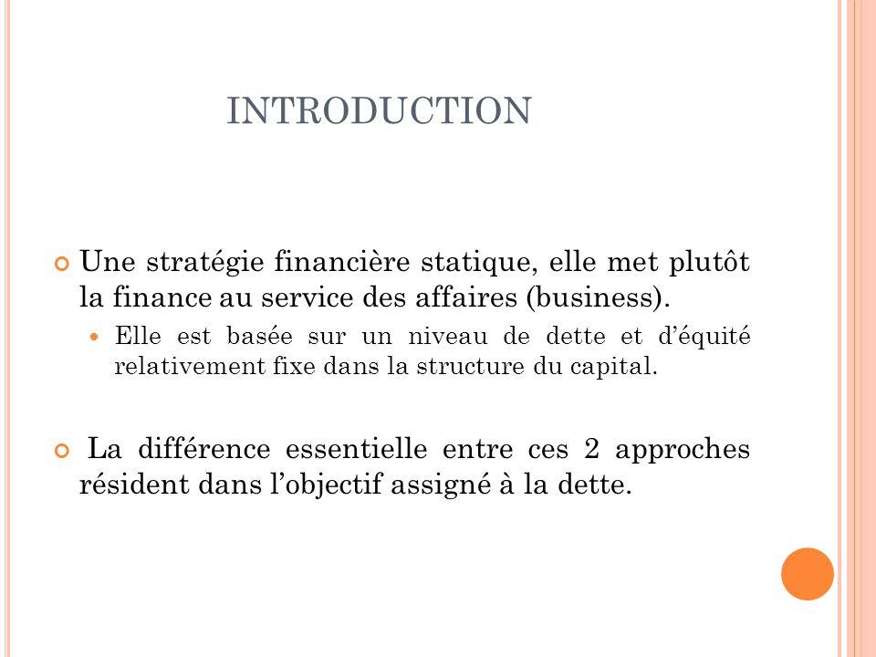 INTRODUCTION Une stratégie financière statique, elle met plutôt la finance au service des affaires (business). Elle est basée sur un niveau de dette e