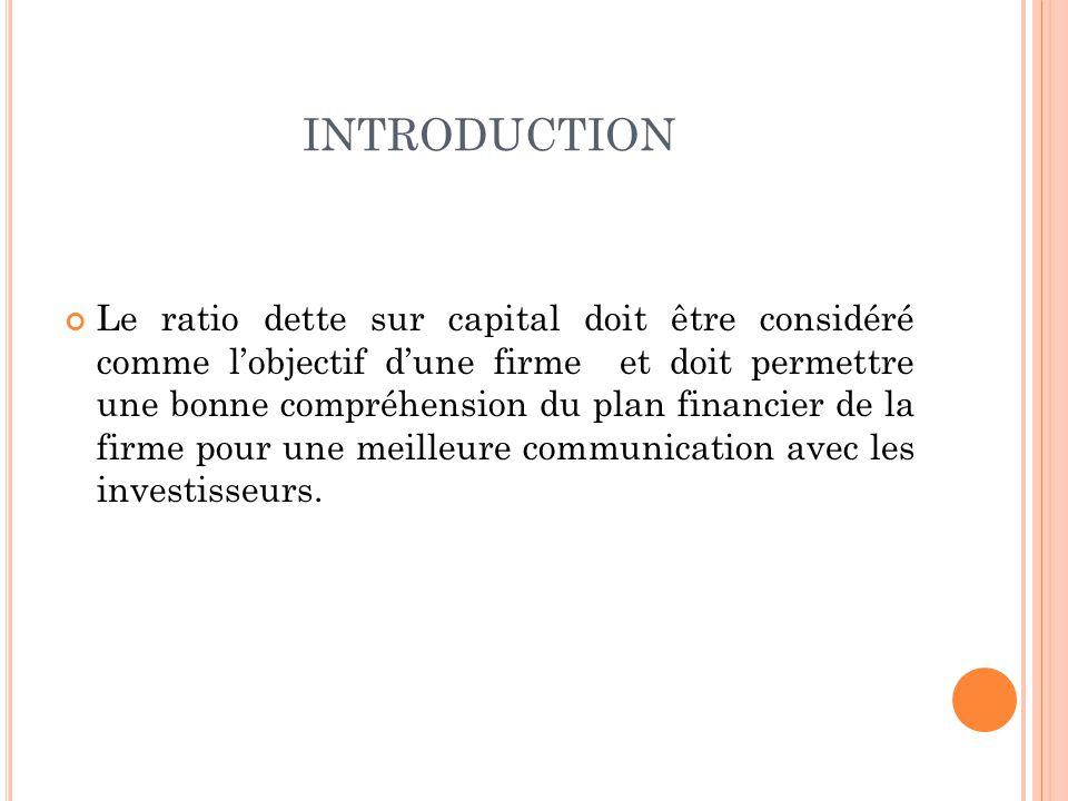 INTRODUCTION Le ratio dette sur capital doit être considéré comme lobjectif dune firme et doit permettre une bonne compréhension du plan financier de la firme pour une meilleure communication avec les investisseurs.