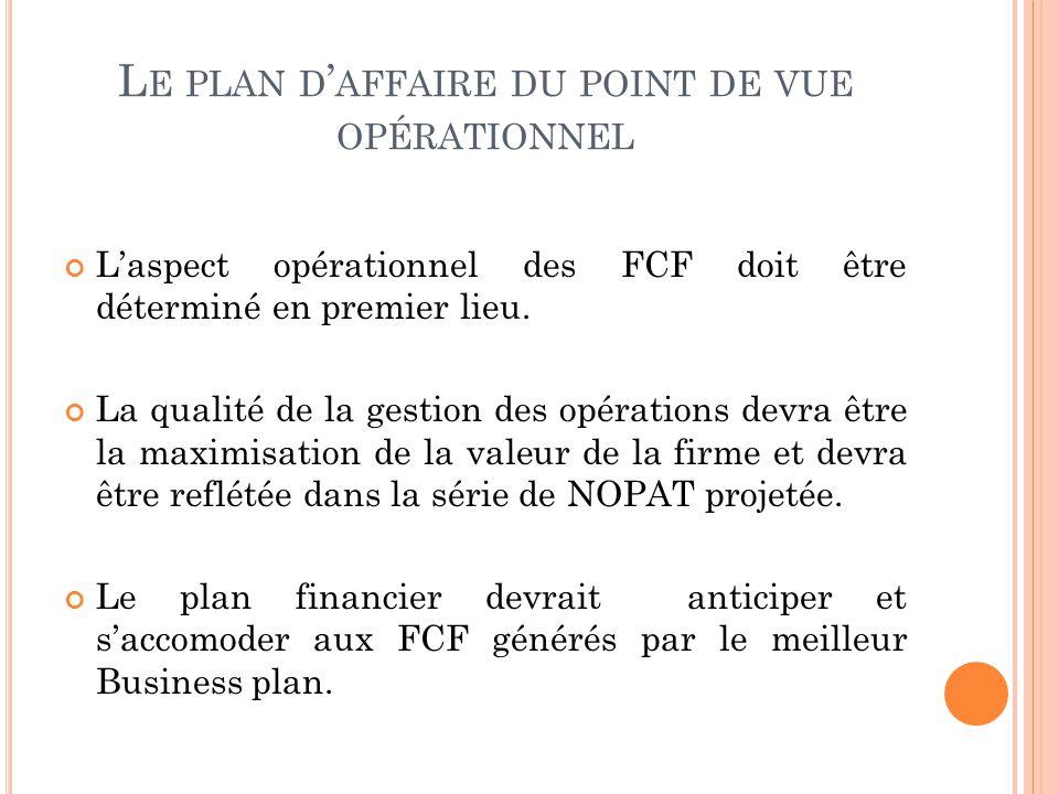 L E PLAN D AFFAIRE DU POINT DE VUE OPÉRATIONNEL Laspect opérationnel des FCF doit être déterminé en premier lieu. La qualité de la gestion des opérati