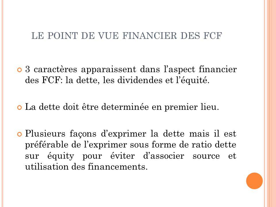 LE POINT DE VUE FINANCIER DES FCF 3 caractères apparaissent dans laspect financier des FCF: la dette, les dividendes et léquité. La dette doit être de