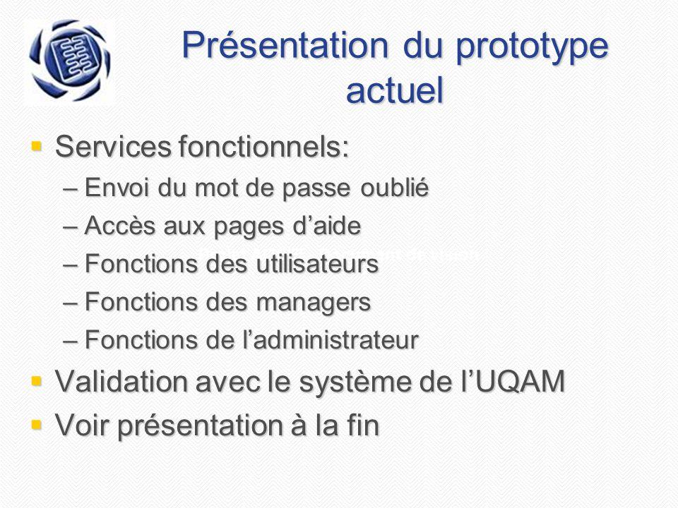 Projet AGEEI - Document de vision Présentation du prototype actuel Services fonctionnels: Services fonctionnels: –Envoi du mot de passe oublié –Accès