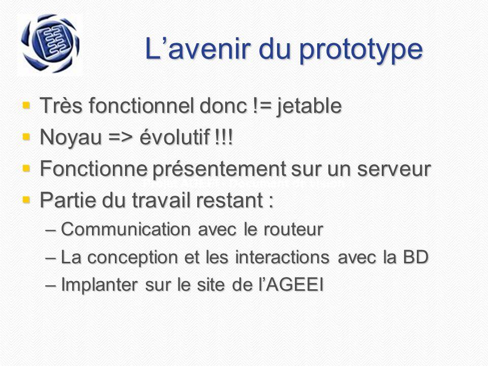 Projet AGEEI - Document de vision Lavenir du prototype Très fonctionnel donc != jetable Très fonctionnel donc != jetable Noyau => évolutif !!! Noyau =