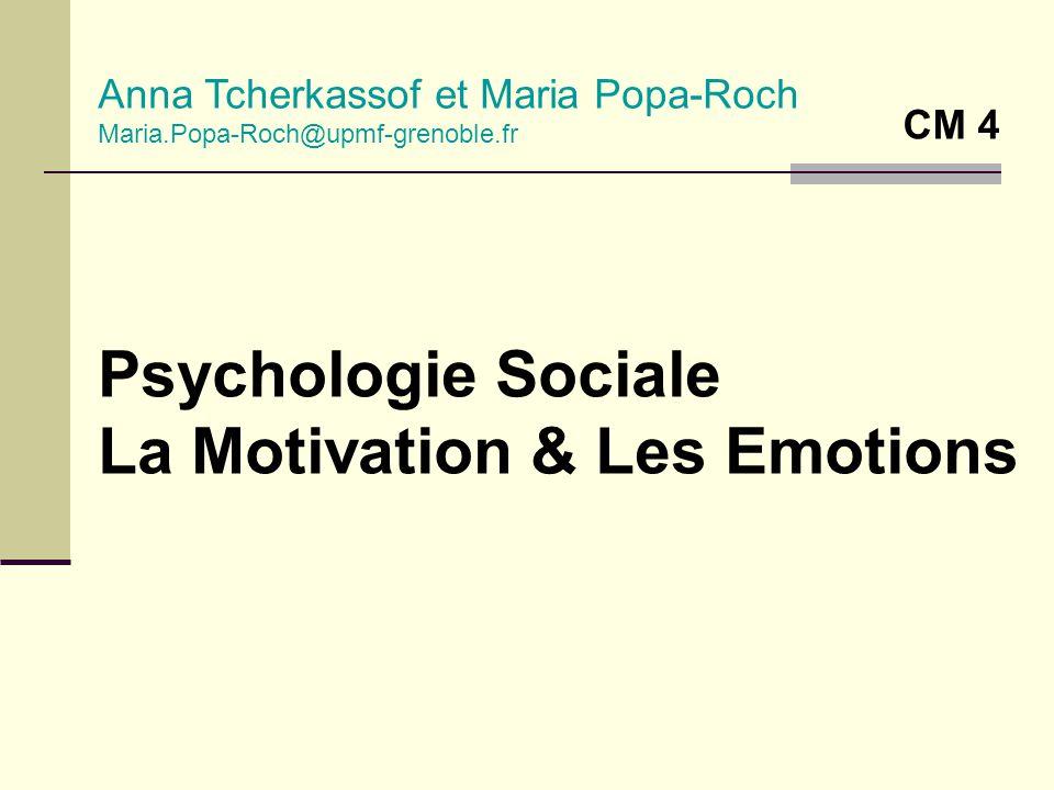 Psychologie Sociale La Motivation & Les Emotions Anna Tcherkassof et Maria Popa-Roch Maria.Popa-Roch@upmf-grenoble.fr CM 4