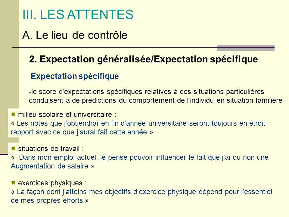 III. LES ATTENTES A. Le lieu de contrôle 2. Expectation généralisée/Expectation spécifique Expectation spécifique -le score dexpectations spécifiques